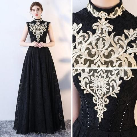 Chic A-line High Neck Black Tulle Lace Modest Prom Dress Evening Dress AM412 #modestprom