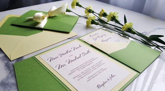 Yellow Green Wedding Invitations Yellow Green Invites Green