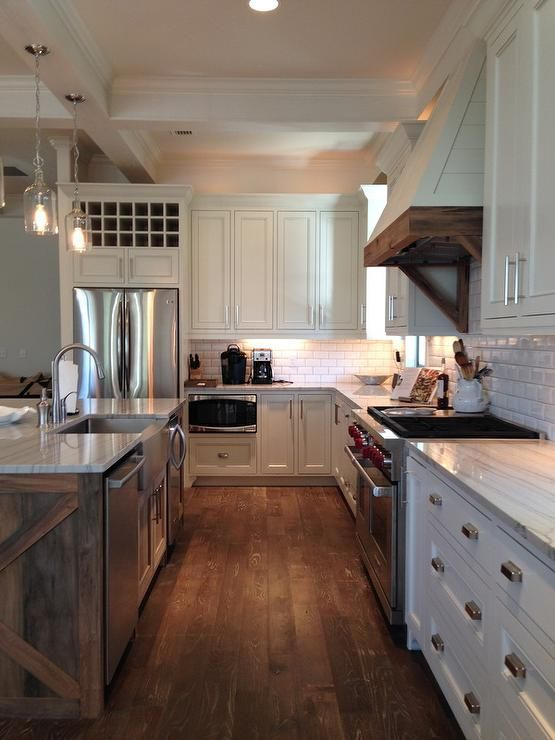 Fantastic Kitchen Boasts A Coffered Ceiling Accented With