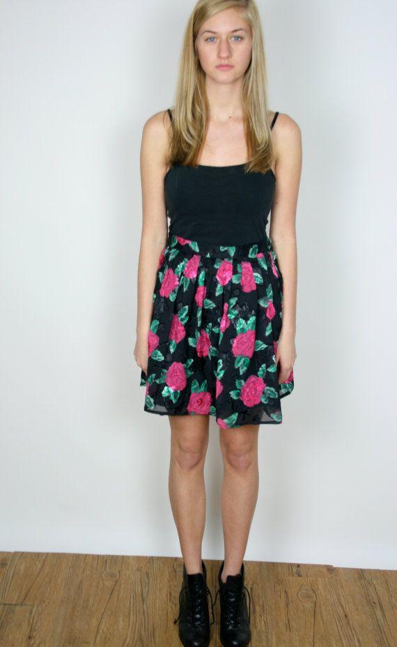 VTG 80s BLACK ROSE Skirt by LEAMORVINTAGE on Etsy, $38.00