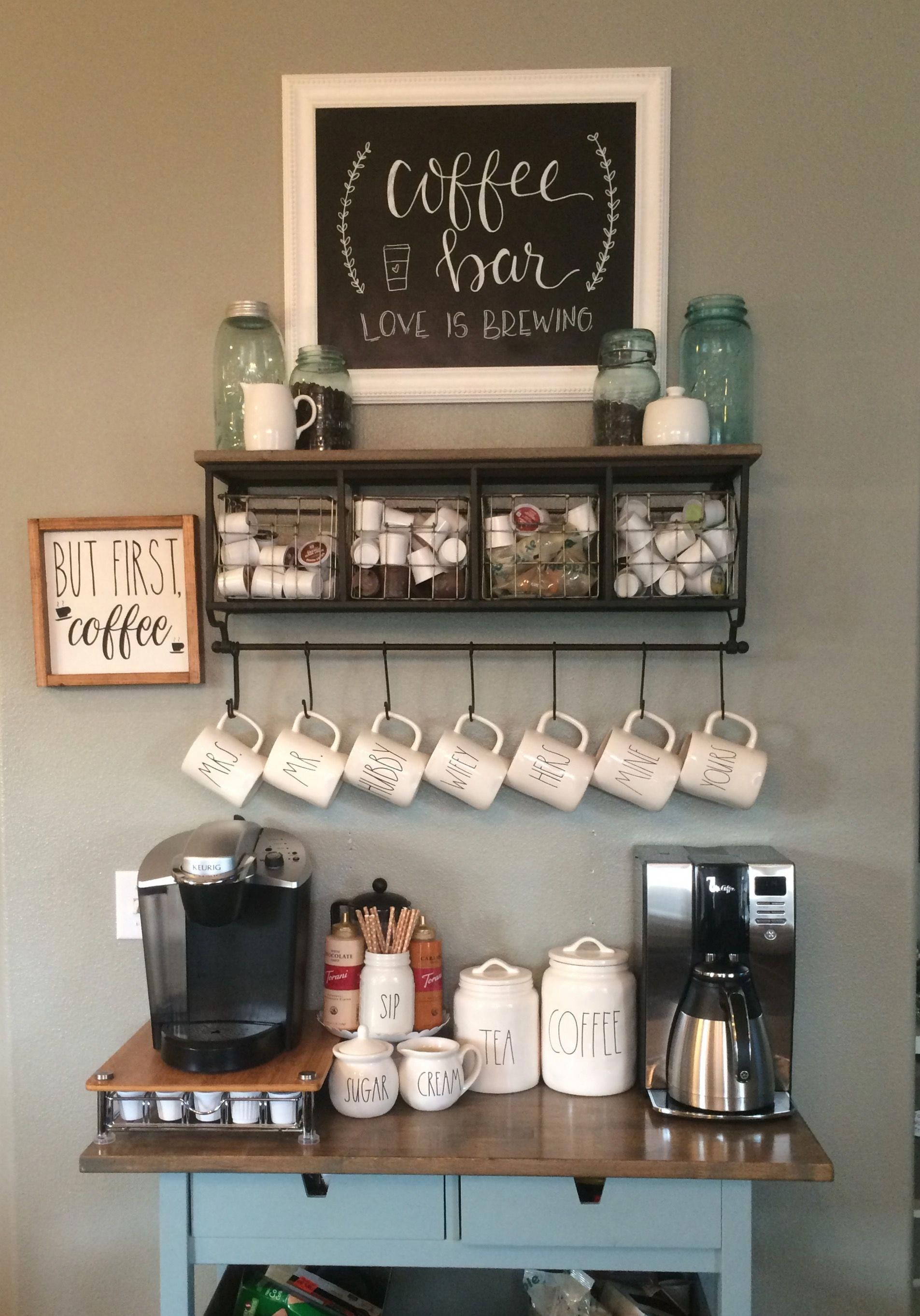 Rae Dunn filled coffee bar | Awesome Coffee Bar Ideas that Will Makes All Coffee Lovers Falling in Love TAGS: Coffee bar ideas, Coffee station kitchen, DIY Coffee bar in kitchen, Farmhouse coffee bar, Keurig station #Coffeebar #Coffeestation #homecoffeebar #bartablesdiy #barideas #coffeestorage #HomeBarcart #coffeebarideas