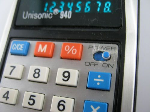 vtg unisonic 940 calculator w case manual warranty original box rh pinterest com unisonic xl 1149 calculator manual Unisonic Calculator Parts