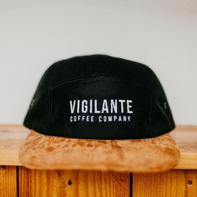 85e40e3ec87 Custom Black Cotton Twill and Suede Five Panels for  vigilantecoffee !  Branding Options Include  Front Flat Embroidery and Inner Woven Label.