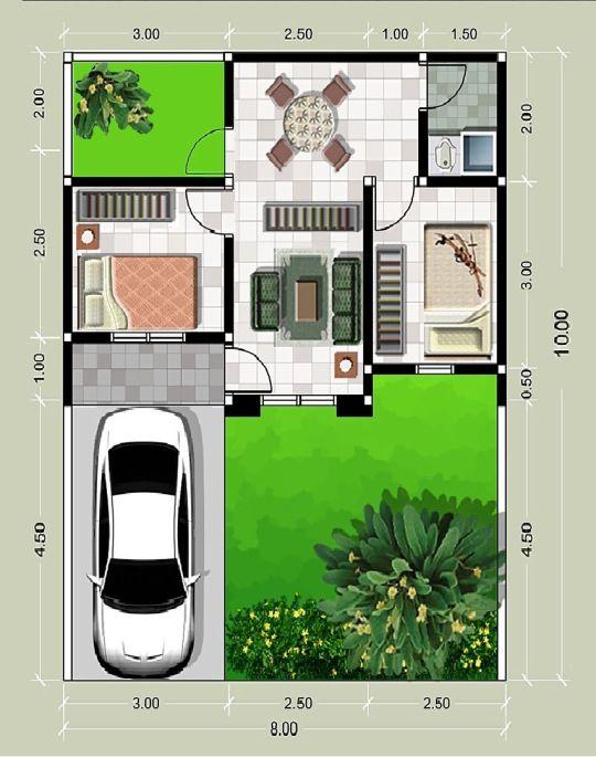 Gambar Denah Rumah Minimalis Type 21 Desain Rumah Kecil Denah Rumah Denah Rumah Kecil