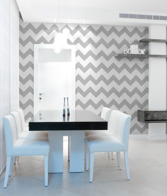 Chevron Wall Stencil Large To Paint Stripes For A Wallpaper Look 3400 Via Etsy
