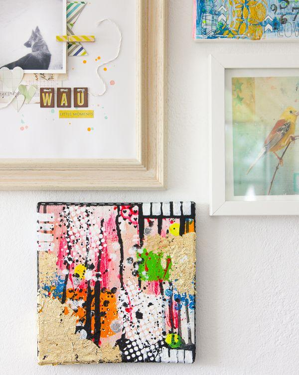 Wanddekoration selber machen - mit Leinwand, Acrylfarben und