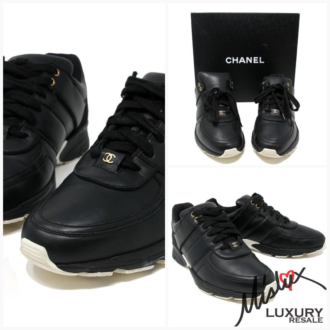 50f646f3baeb Chanel Signature Cc Supermarket Sneaker Calfskin Satin Black Athletic Shoes   lvlove  louisvuittoncoffeelver  handbagaddict  jerushaaddict  lvlover ...