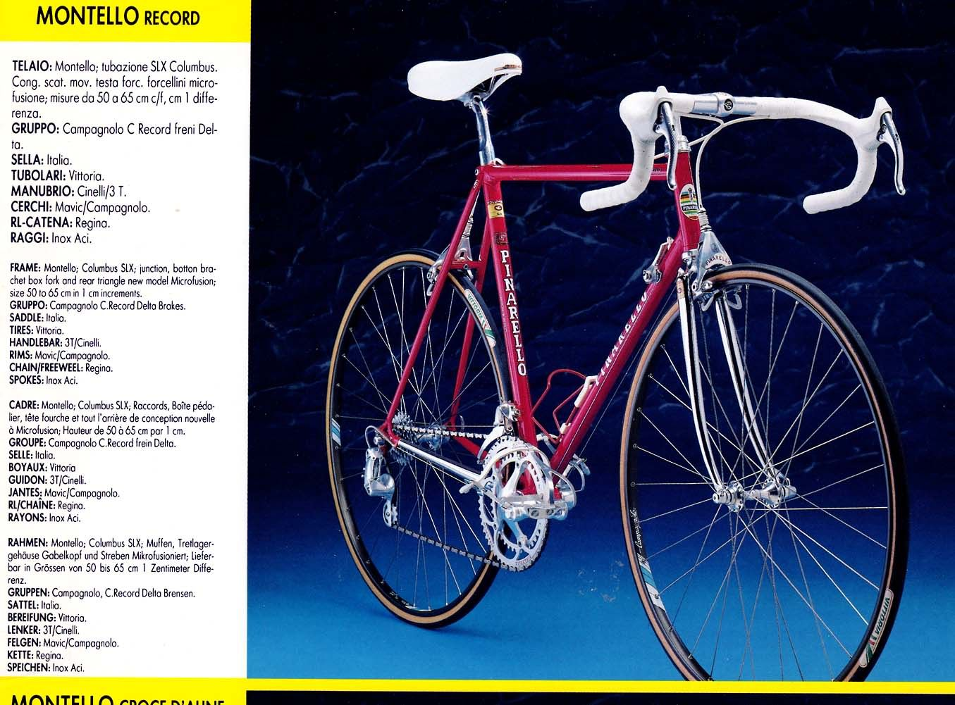 Vintage Eighties Pinarello Catalog Pinarello Road Bike Vintage Steel Bike