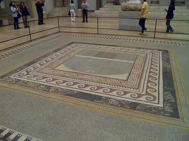 Mosaic From The Palace V Of The Acropolis At Pergamon With Inscription Of The Artist Hephaistion 2nd Century Pergamon Museum Berlin Pergamon Museum Pergamon