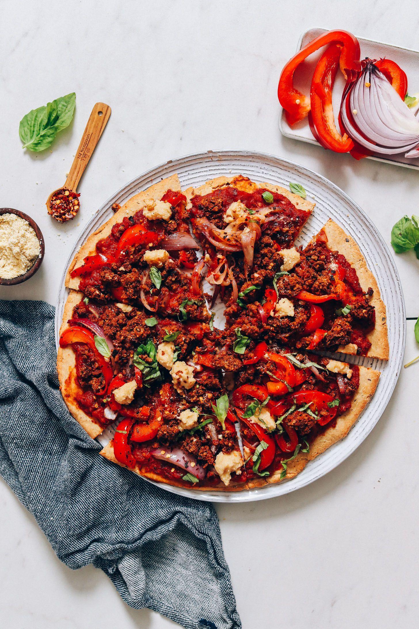 DELICIOUS GlutenFree Vegan Sausage PIZZA! 9 simple whole