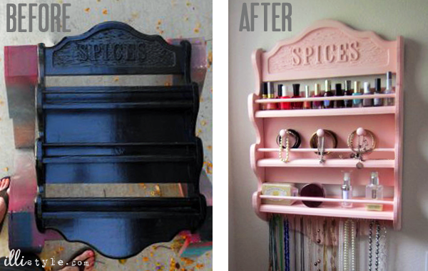 Spice Rack to Jewelry Holder Before and After -