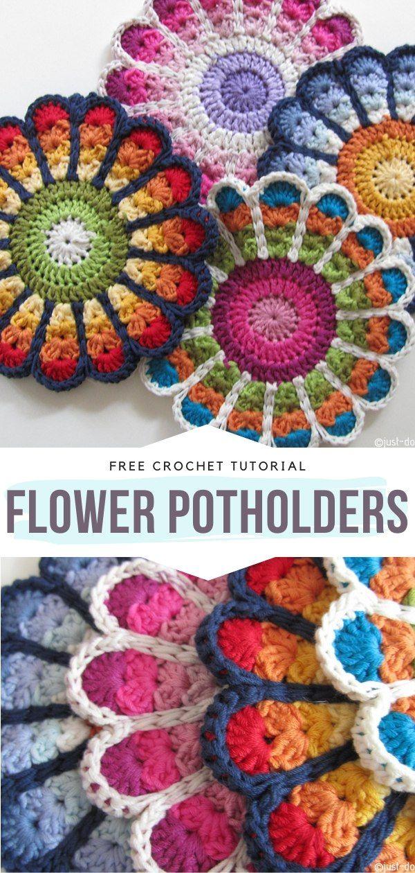How to Crochet Flower Potholders
