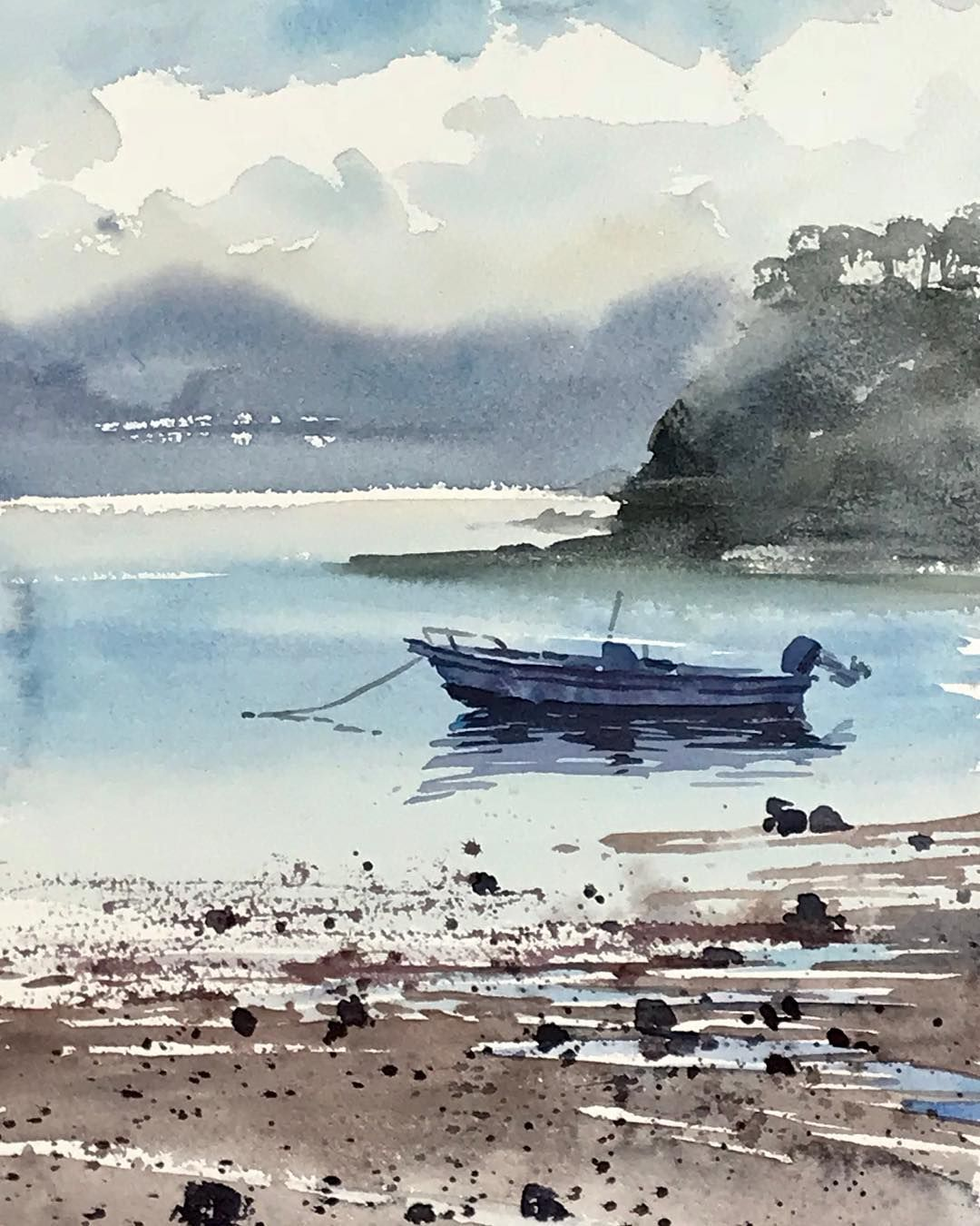 "Beach Landscape With Fishermen: Kazuo Kasai On Instagram: ""in Japan #quickpainting"