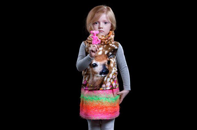 Anne Kurris winter 2012 I love the deer photoprint combined with the neon print skirt #kidsfashion #Belgiumkidsfashion