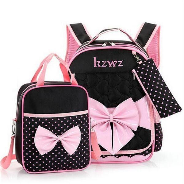 Cute Girls Bowknot Backpacks Kids Satchel Children Girl School Bags  Orthopedic Waterproof Backpack Child School Bag Mochila B160 cf4d5183e377c