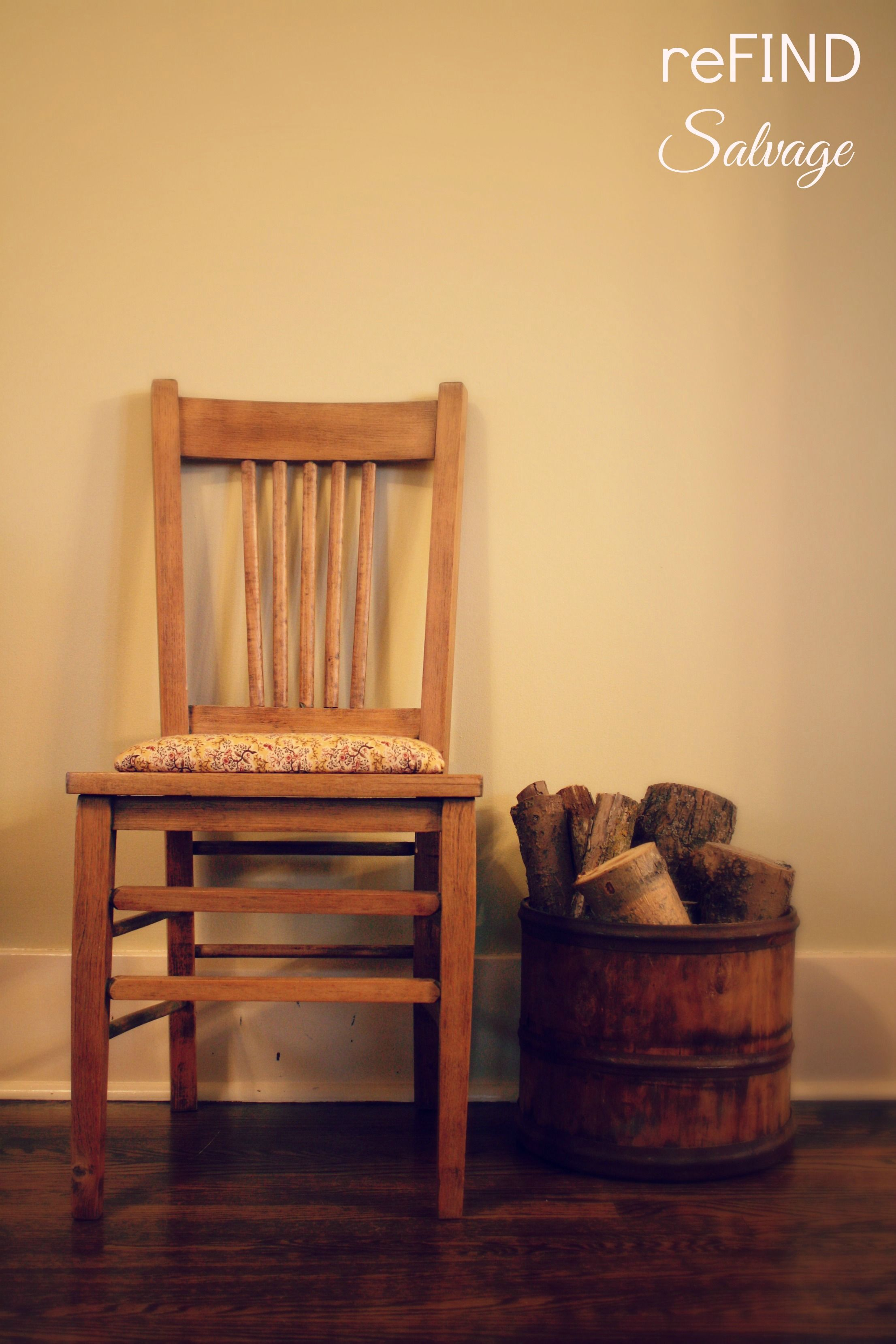 Reupholstered farmhouse chair rustic naturally distressed solid