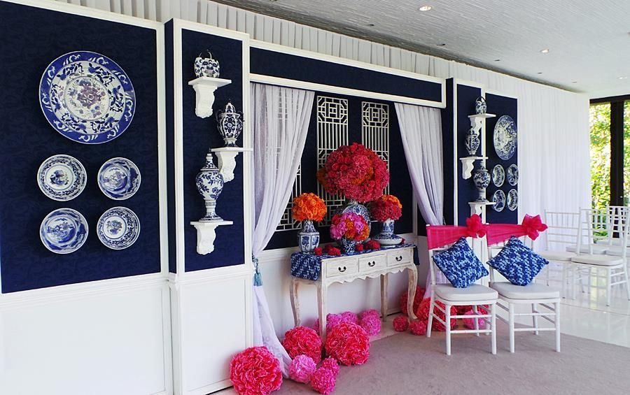 blue and white with hot pink for a more modern look ...