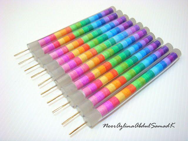 AZLINA ABDUL: Rainbow coloured handmade slotted quilling tools