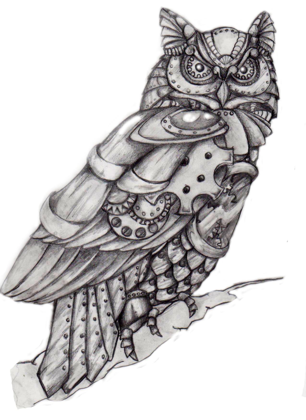 Andi S Steampunk Owl Blak And Grey Steampunk Owls Steampunk Tattoo Owl Tattoo Design