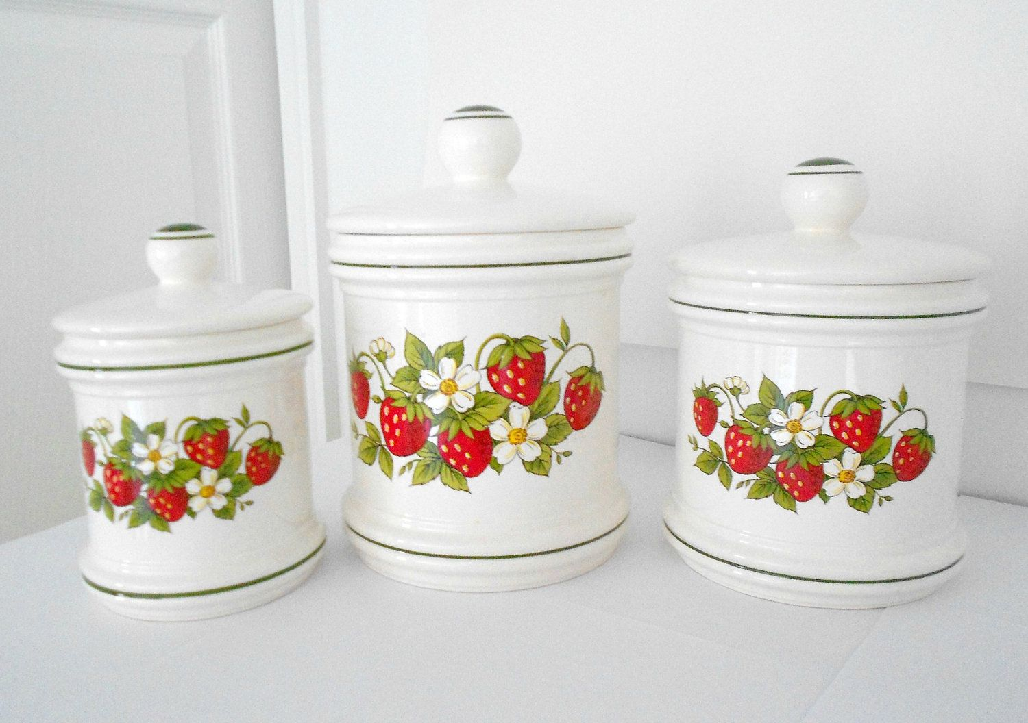 decorative kitchen canisters sets designer seattle strawberry decor set of three