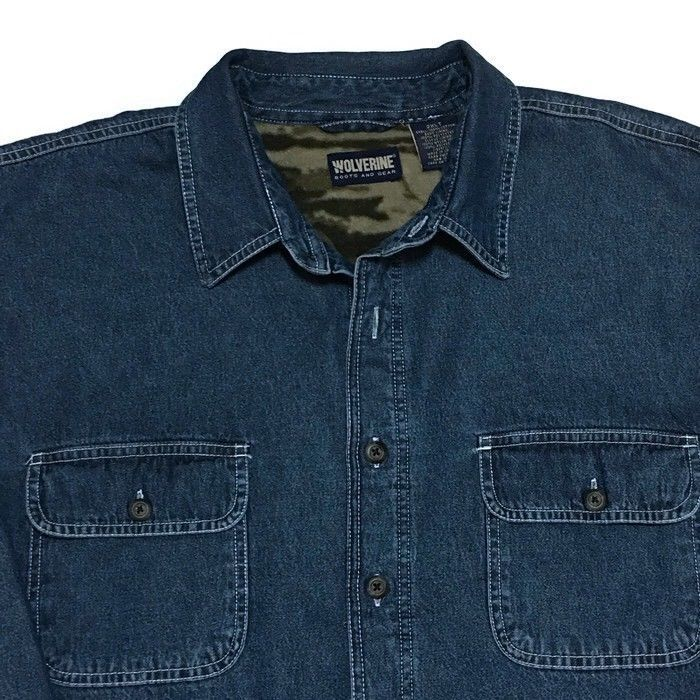 beac6f1fb4 Wolverine Denim Camo Fleece Lined Jean Shirt Jacket 2XLT Big Tall  Camouflage  Wolverine  ButtonFront