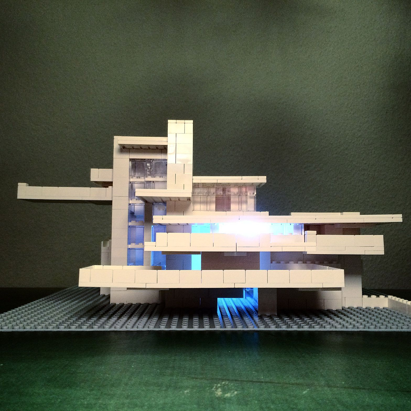 falling water by frank lloyd wright recreated in lego by arndt