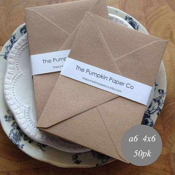 4x6 KRAFT ENVELOPES BROWN A6/C6 50 PACK Rustic and natural, these ...