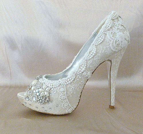 37e6327648df lacy bridal shoes sparkle toes