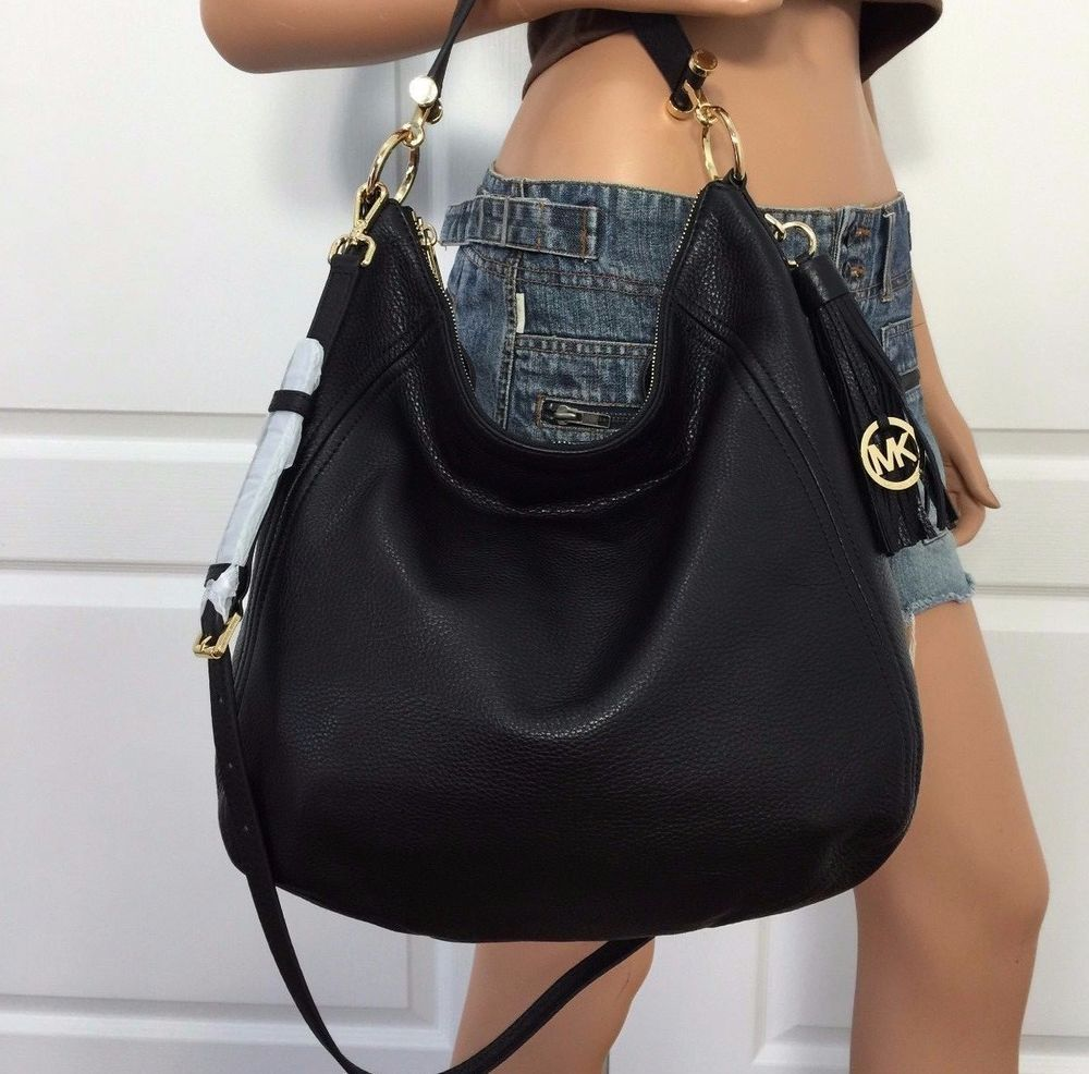 a388e589c7ce7 Nwt michael kors x large black crossbody shoulder pebbled leather hobo bag  purse