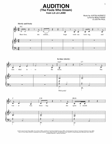 Audition The Fools Who Dream Sheet Music Plus  Sheet Music