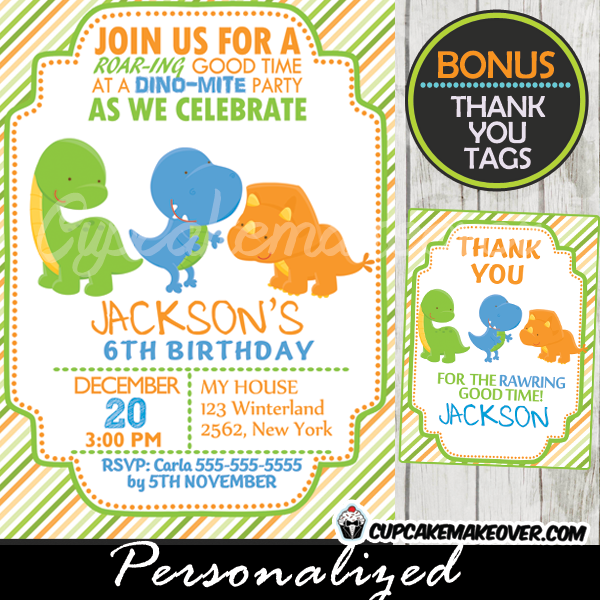 Printable Lil Dinos Dinosaur Birthday Invitation With Matching Thank You Cards For Boys This Personalized Dino Party Features Three Happy