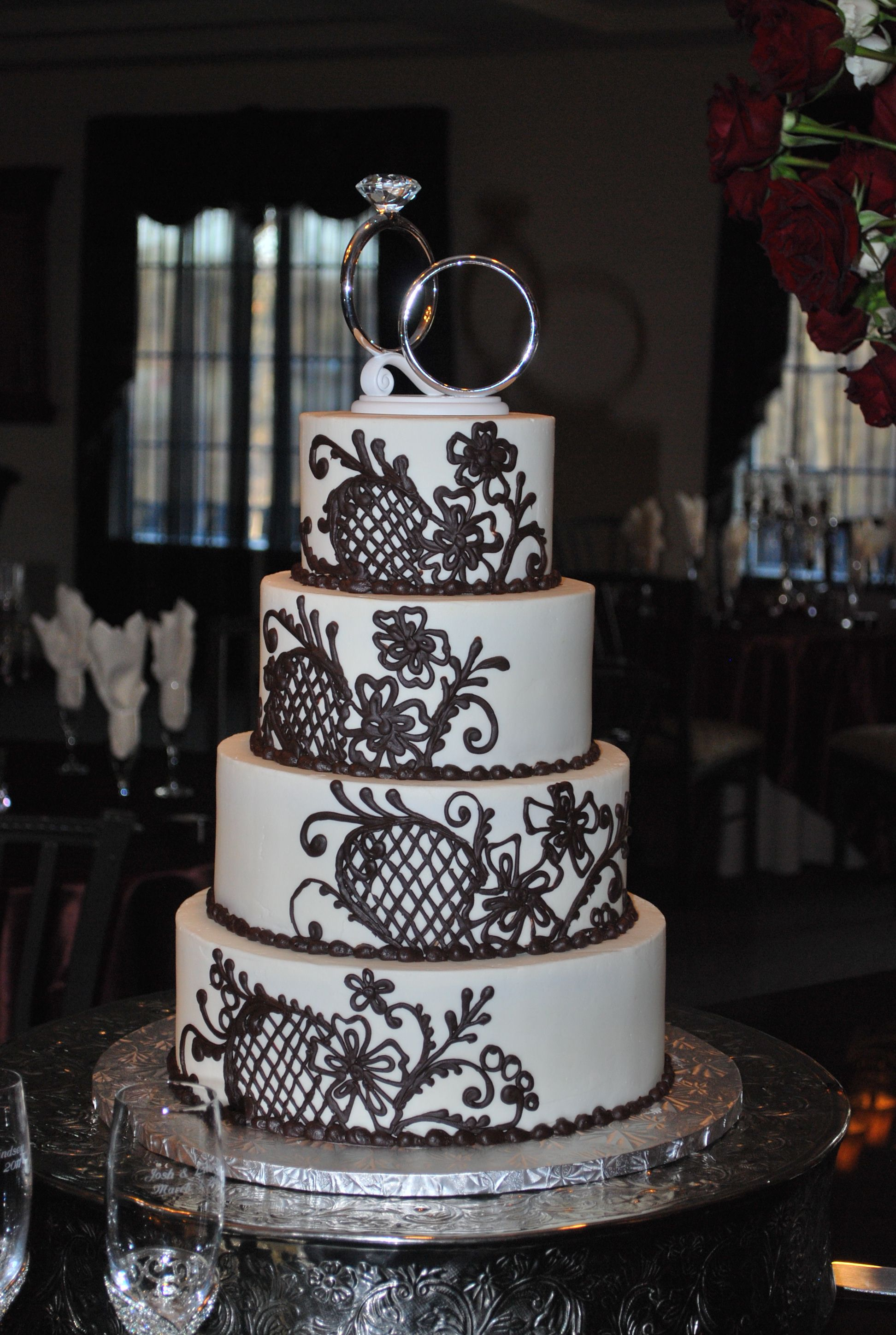 Crosshatch And Vines Wedding Cake My Favorite Bakery Calling All - Wedding Cakes Arlington Tx