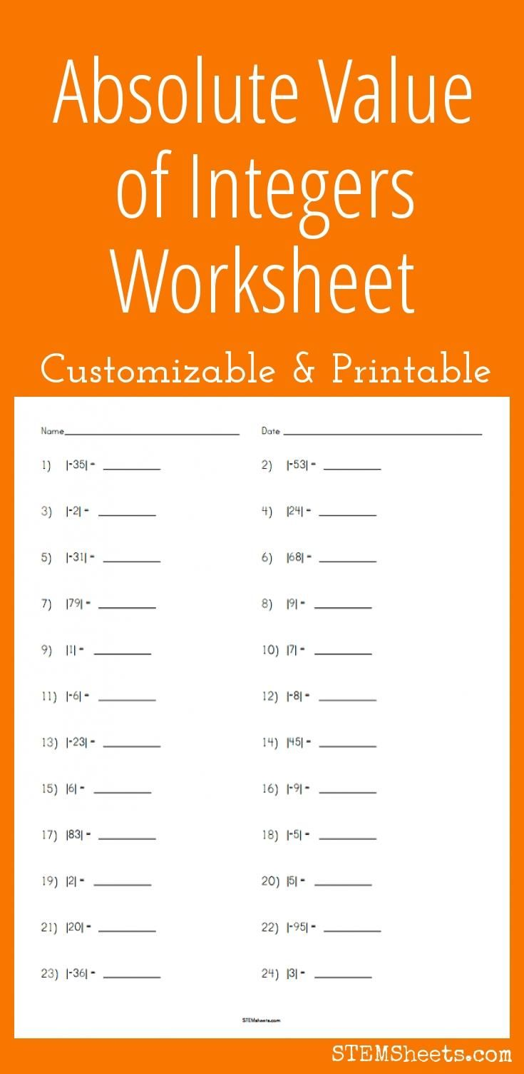 Customizable and printable Absolute Value of Integers