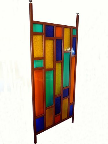 """Mid Century Modern Multicolor Screen Panel    Mid Century Modern Multicolor Screen Panel    Mid Century red, orange, yellow, green, and blue color block Plexiglas screen / room divider in wood frame. Extension screws twist to accommodate 85"""" or more.    decorative, room divider, rare, art glass, extension"""