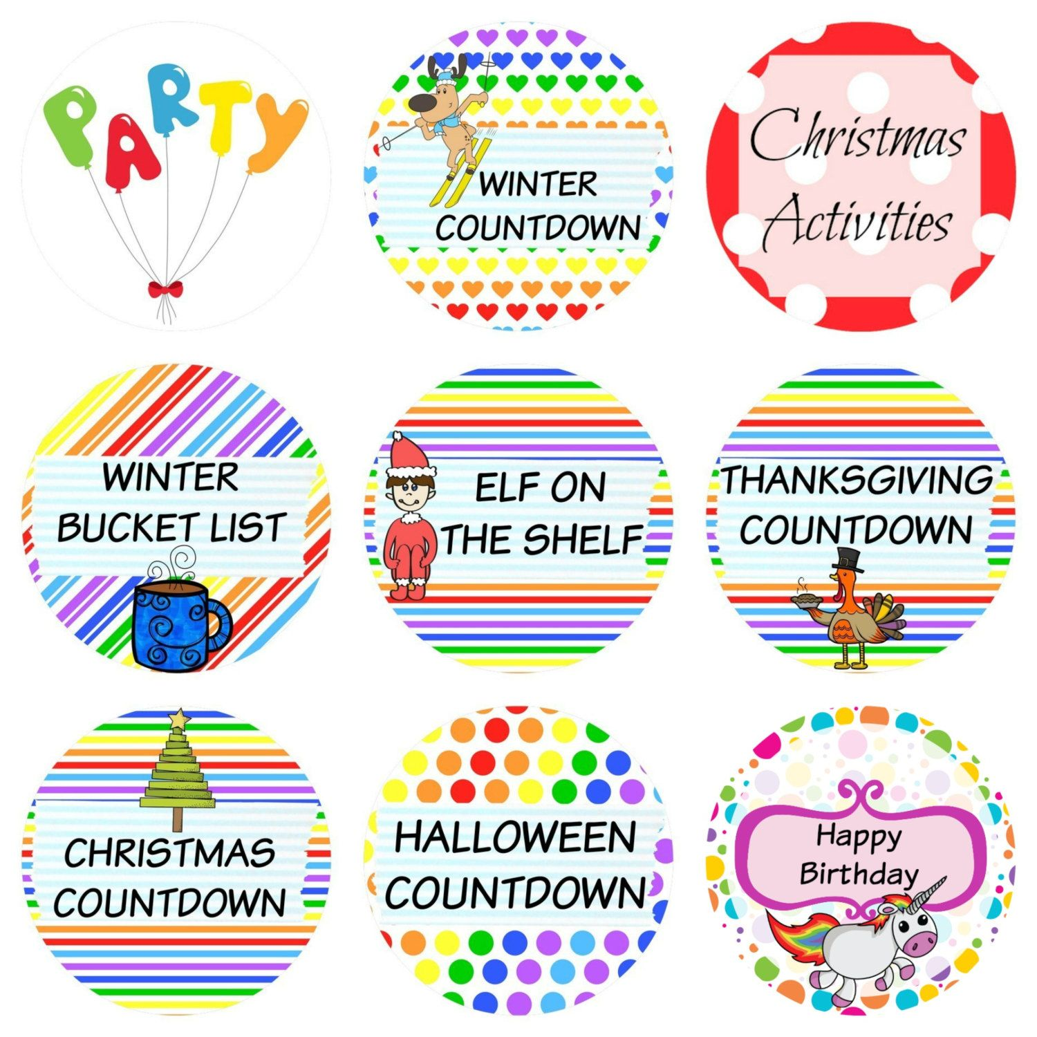 Halloween Thanksgiving Christmas Countdown.108 Planner Stickers Countdowns For Christmas Winter