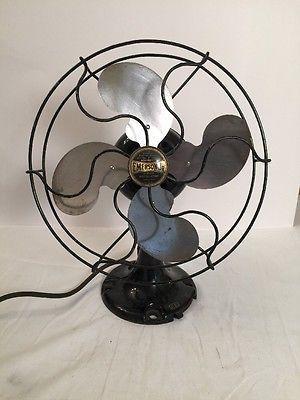 Vintage Antique Emerson Jr Electric Fan 10 Oscillating Desk Top One Speed Works Vintage Fans Electric Fan Modern Fan
