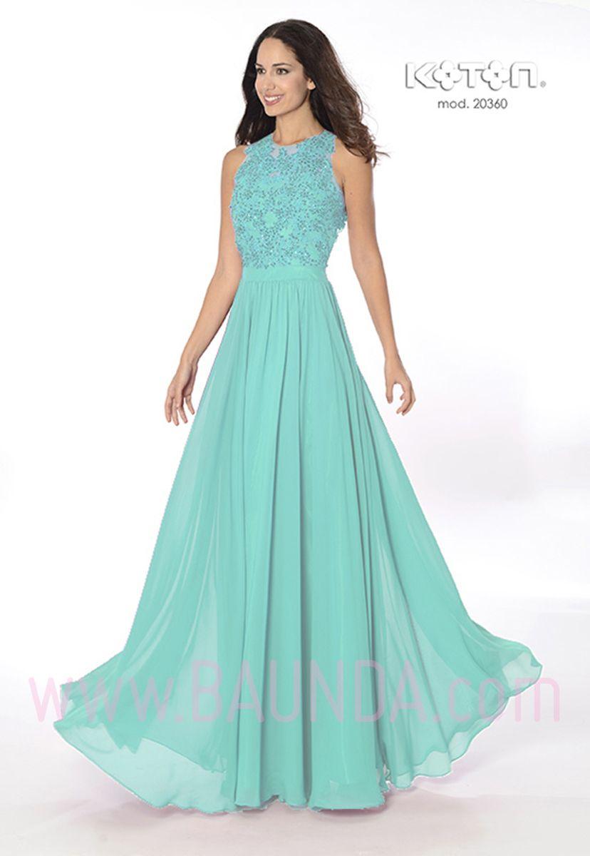 19ed7f0e3 Vestido-de-fiesta-largo-2016-koton-20360-verde-agua