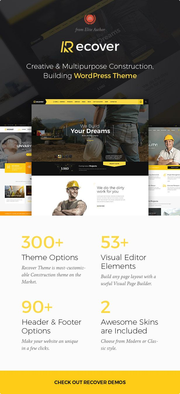 construction building business wordpress theme recover pinterest