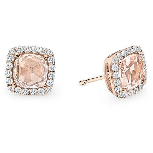 Women's Lafonn Simulated Diamond & Simulated Morganite Stud Earrings ($175) ❤ liked on Polyvore featuring jewelry, earrings, pink earrings, faux diamond earrings, fake jewelry, pink stud earrings and fake earrings