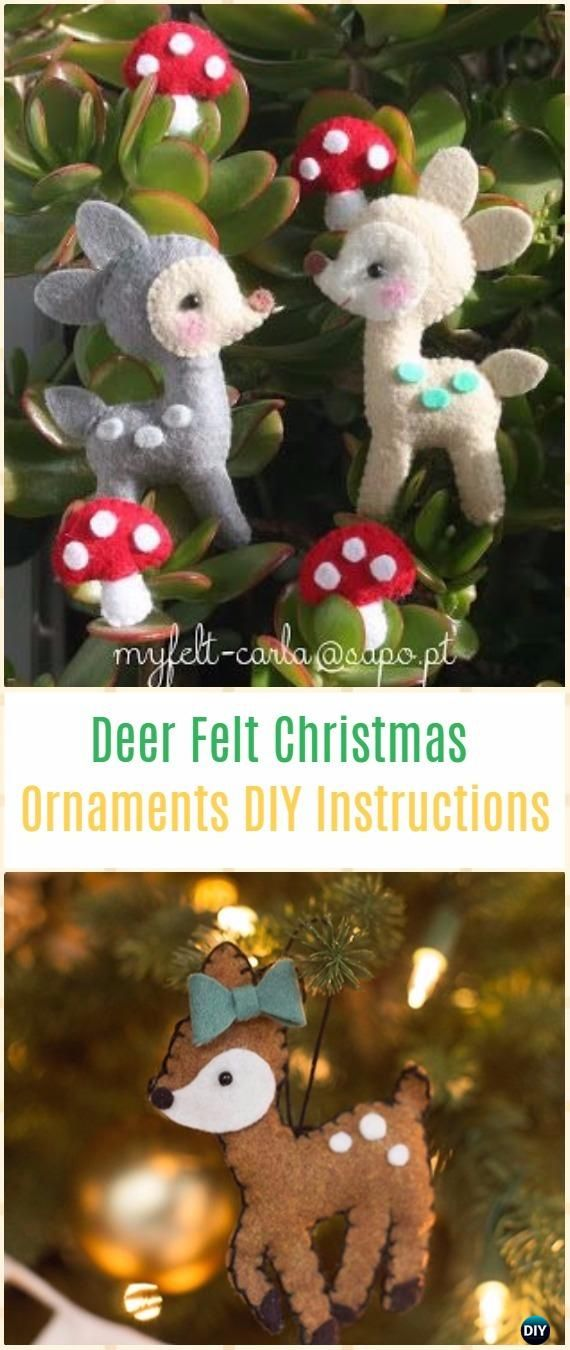 DIY Deer Felt Christmas Ornaments Instructions - DIY Felt Christmas  Ornament Craft Projects [Picture Instructions] - DIY Deer Felt Christmas Ornaments Instructions - DIY Felt Christmas