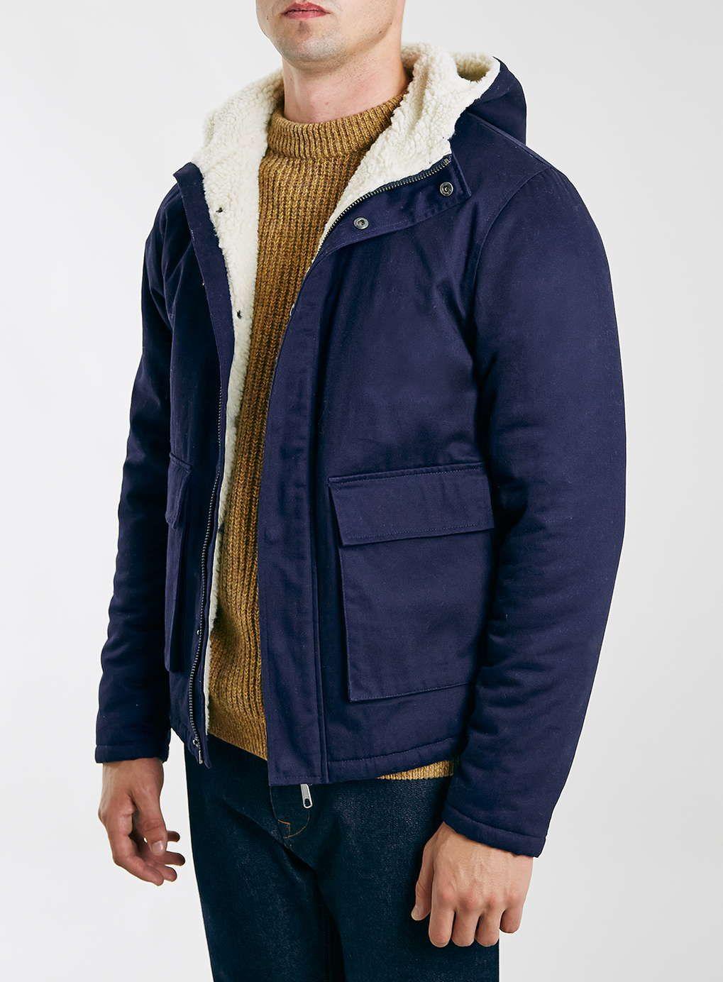 LTD Navy Borg Lined Parka Jacket Men's Coats & Jackets