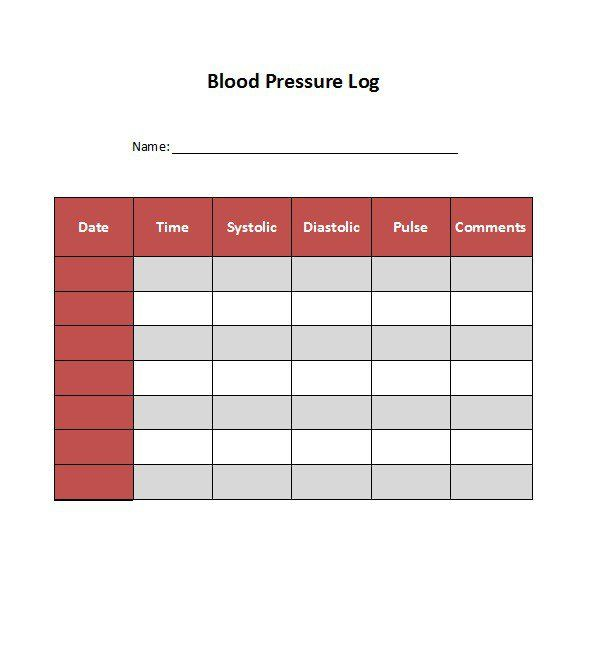 Blood Pressure Log Template   Health    Logs And Blood