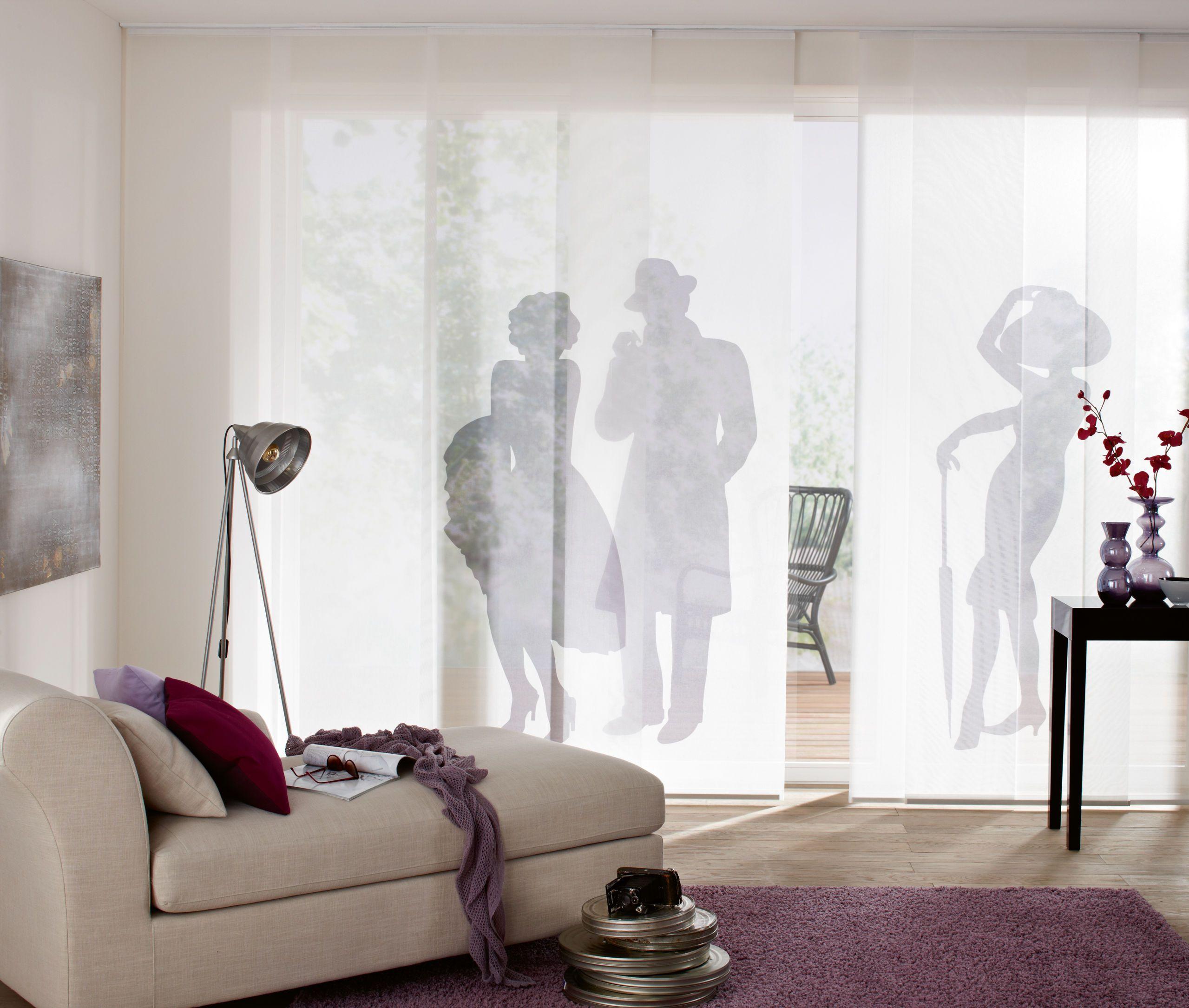 Einfache Dekoration Und Mobel Flaechenvorhaenge Deko Fuer Das Fenster #17: Schiebegardine Mit Menschen-Druck
