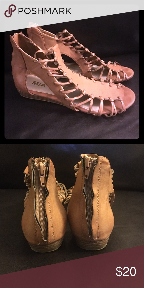 e989326e1aa Gladiator wedge sandals in camel MIA brand gladiator sandals in camel with  a small wedge. Zip back. Only worn a few times outside! MIA Shoes Sandals