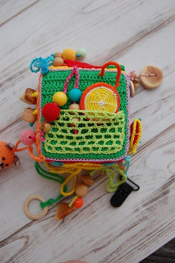 Crochet educational toy, Fine motor skills сube, Game for little ...