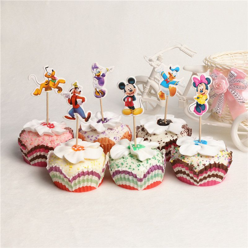 Cute Mickey Mouse Cartoon Cupcake Toppers Picks Mickey Mouse