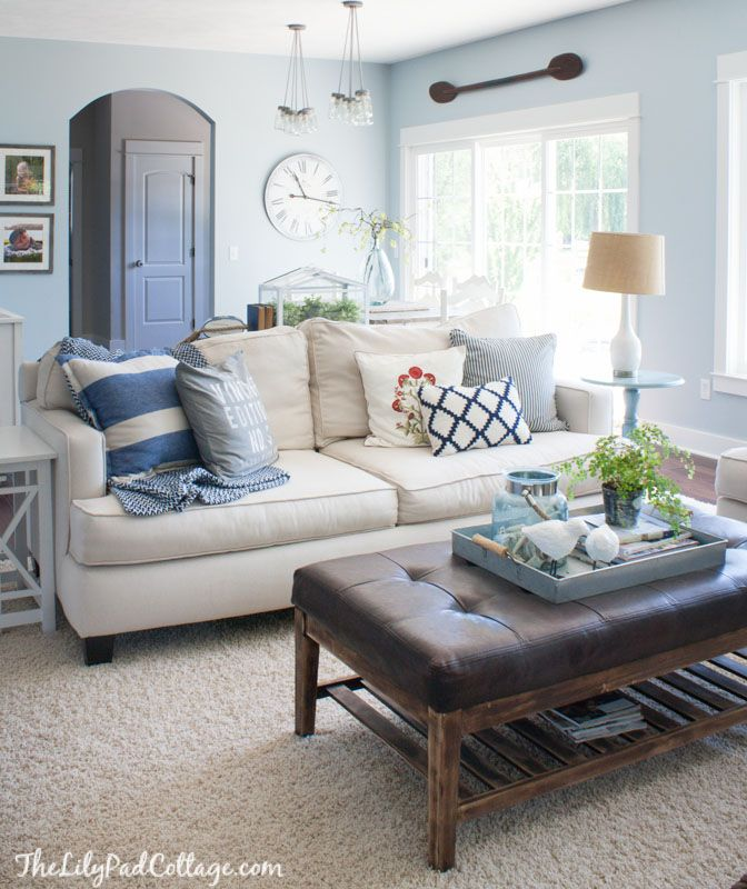 Living Room Decor Finally Revealed Paint Colors Blue Wall Colors And Ottomans