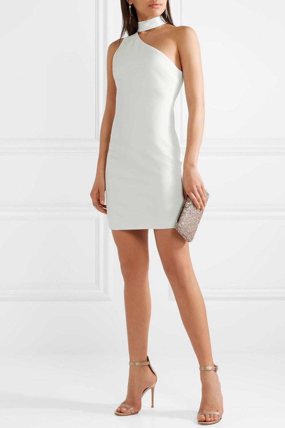 Soshana One-shoulder Crepe Mini Dress - Off-white Alice & Olivia