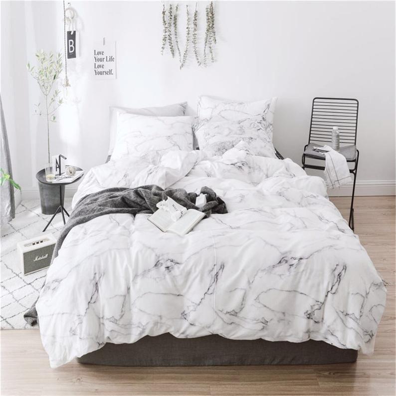 White Marble Duvet Cover 100 Cotton Comforter Cover Kids Etsy Marble Duvet Cover Bed Comforter Sets Chic Bedding Sets