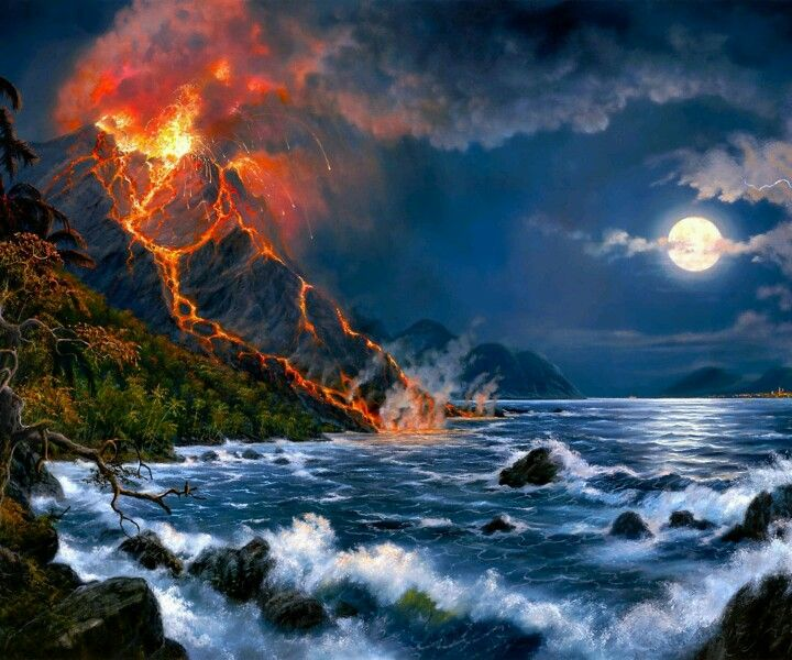Natural Disasters Natuur Geweld Volcano Wallpaper Digital Art Fantasy Fantasy Landscape